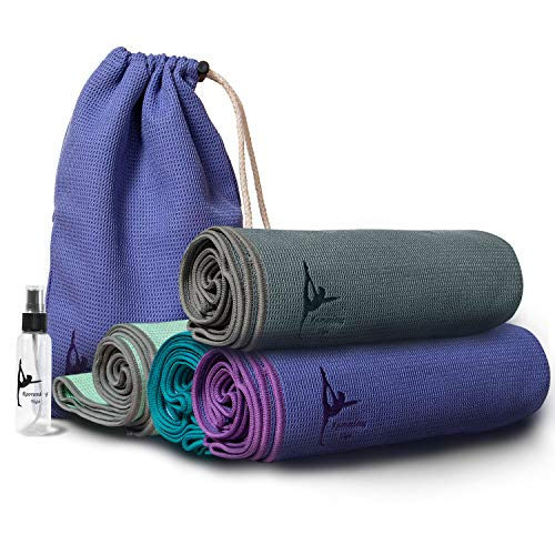 l Hot Yoga Towel,Yoga Mat Towel, for Women Non-Slip Silicone Bottom with Special Corner Pockets Carry Bag and Spray Bottle for Non Slip Bikram Hot Yoga Pilates Gym-Blue ()