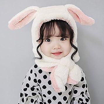 72e6988bdc4ff2 RICOCO うさぎ ベビー帽 耳保護付き 柔らかい 暖かい ふわふわ かわいい ポンポン 防風 防寒 保温 子供