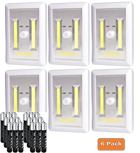 Switch Light Cordless - Battery (Included) Operated Adjustable Brightness LED Night Lights, 200 Lumen Cordless COB LED Light Switch, Wall Wireless Mount Under Cabinet, Tap Light, Shelf, Closet, Garage, Kitech & RV (6-Pack)