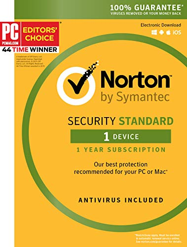 Symantec Norton Security Standard - 1 Device - 1 Year Subscription - [PC/Mac/Mobile Key Card] (Best Internet Security For Pc 2019)