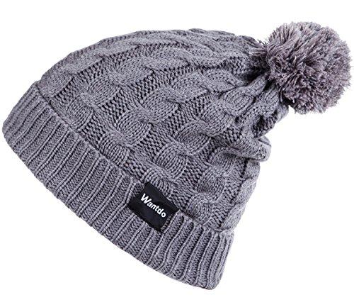 Wantdo Women Winter Knitted Hat Pom Pom BeanieCapThick WarmHat