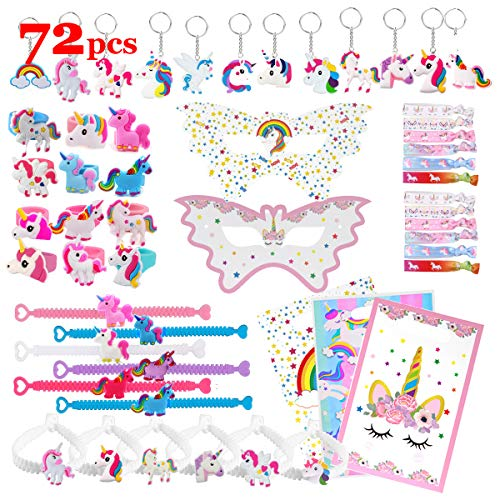 Unicorn Party Favors Supplies for Kids Girls Birthday Party, Carnival Prize, Goodie Bag Fillers, Easter Egg Stuffers - Masks, Rings, Hair Ties, Bracelets, Keychains, Gift Bags, Each 12 Pack