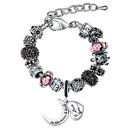 MANBARA Women's Heart Moon Shaped Black Charms Bracelet ()