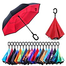 NewSight UV Protection Reverse Umbrella - Double Layer Inverted Umbrella, Self-Standing & C Shape Handle to Free Hand, Inside Out Fold & Unfold, Windproof & Water Repellent, Sleeve/Bag Attached