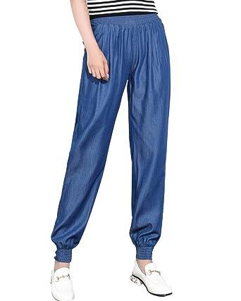 ZhuiKunA Pantalon pour Femmes Elastiqué Grande Taille