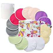 Organic Bamboo Nursing Pads (14 Pack)+Laundry Bag & Travel Bag,2 Sizes:3.9/4.7inch Option - Washable & Reusable Nursing Pads(Small,Daytime Use)
