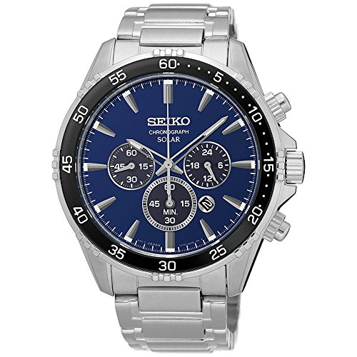 Seiko Men's 'Chronograph' Quartz Stainless Steel Dress Watch (Model: (Solar Watch Blue Dial)