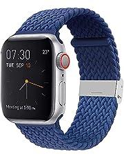 AIYIRUO Gevlochten Solo Loop-polsband Compatibel met Apple Watch-band, 44mm 40mm 42mm 40mm Verstelbare Elastische Nylon Sportvervangingsband Compatibel met iWatch-serie 6/5/4/3/2/1, SE