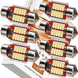 エルカ(Eruka) T10 × 31 LED 31mm 9-33V(瞬間最大耐圧60V) 超強化特注電源回路仕様! 12V 24V 車 兼用 こんなにコンパクト!なのにこの明るさ! 新世代4014型LED10連! 極性フリー! 国内検査品! 7個 ホワイト TS-096-7S