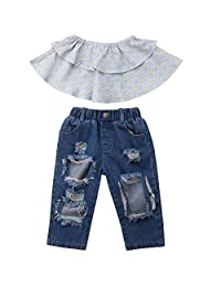 8a395599f726 Annvivi Baby Girls Ruffles Off Shoulder Tube Top Ripped Jeans Clothes Outfit  Set for 1-