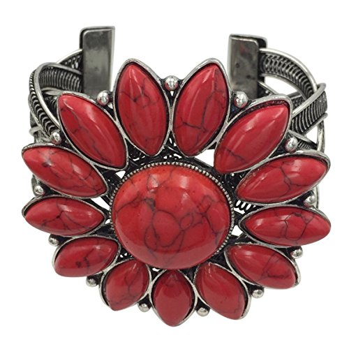 Flower Pink Natural Coral (Large Flower Wide Cuff Silver Tone Bangle Bracelet (Red))