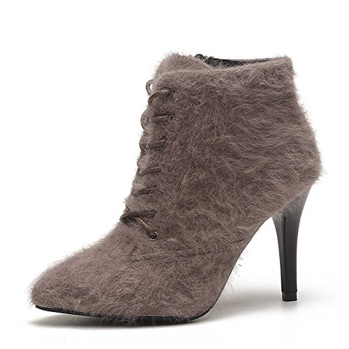 Boots ZHZNVX for Gray Toe HSXZ Heel Casual Boots Winter Brown Pointed Red Combat PU Shoes Black Black Stiletto Women's q10qA