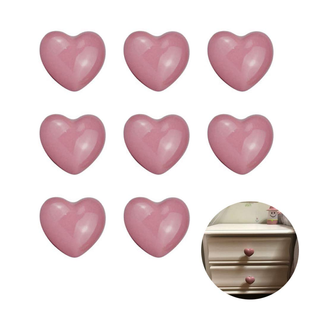 Pink Ceramic Cabinet Handles Drawer Pulls Knobs Heart Shape Cupboard Knobs For Kitchen Knobs Kids Room Cabinets Closets Toy Organizer Box Bookcase-8PCS hua he