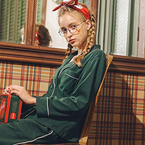 Due Pigiami Cardigan Primavera Da M Da Scuro Camicie Notte Pigiama Pezzi Donna Cotone Da Notte Donna Verde Semplice Pigiameria GZZ Autunno wPqUYxFw