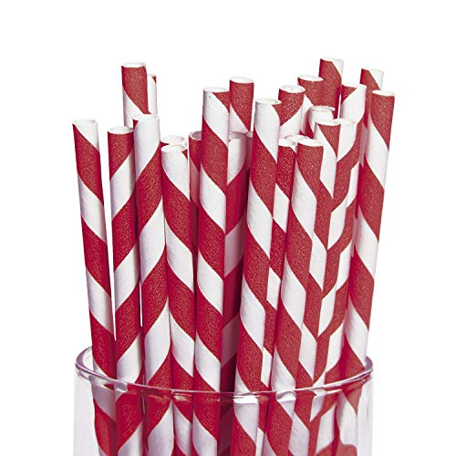 Red Striped Paper Straws 24 -