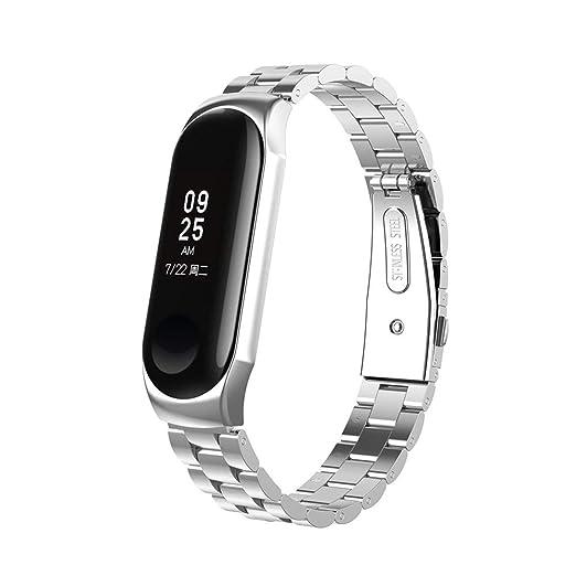 Correas para Xiaomi Mi Band 3,LUNULE VENMO Moda Reemplazo Pulsera de Acero Inoxidable Reloj Inteligente Xiaomi Mi Band 3 Correa de Reloj de Metal para ...