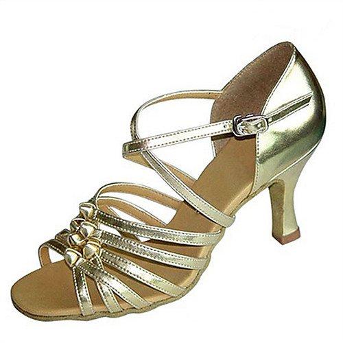 Heel Practice de baile latinas de de T Zapatos cuero Jazz Tango Gold Sandalias Zapatos Salsa Q sintético Swing Oro satén T mujer Performance de Indoor q1XwXOp