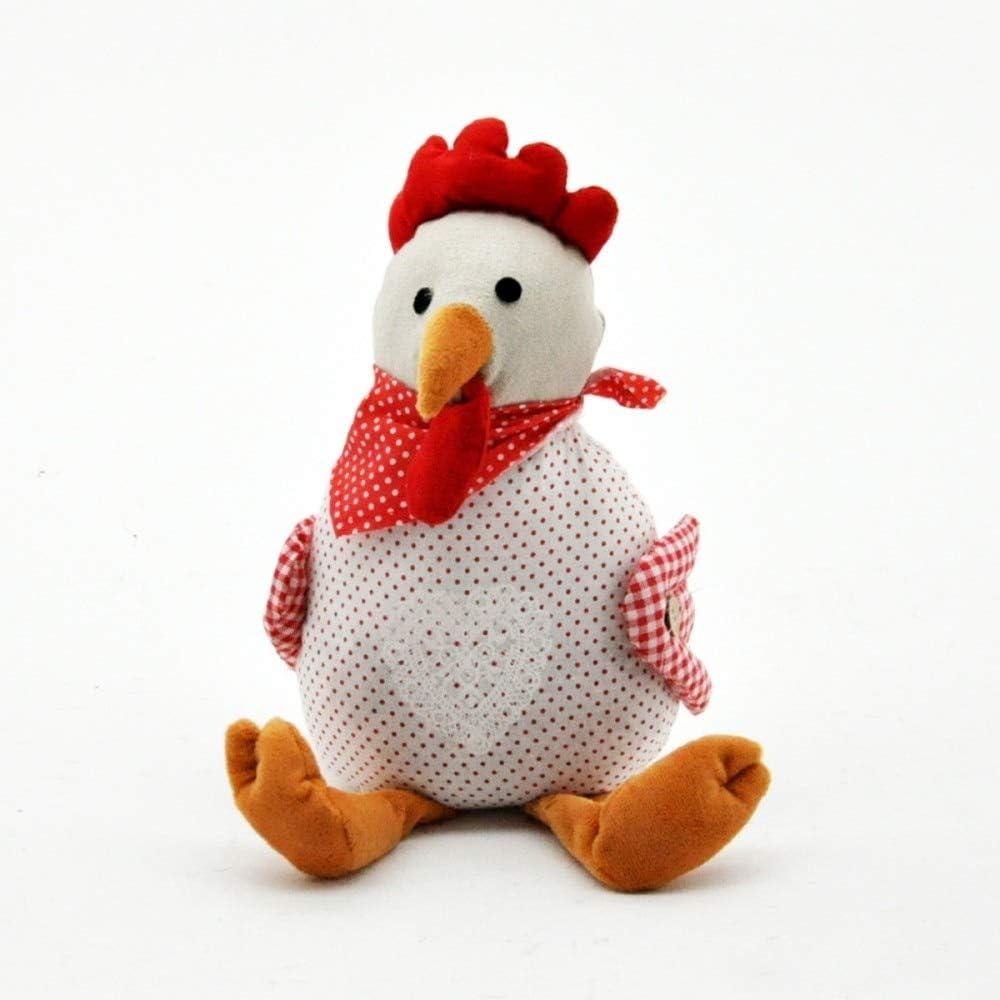 Red Spotty Linen Chicken Hen Door Stop Doorstop