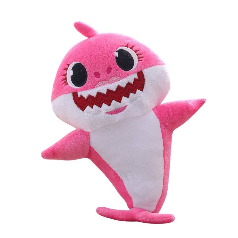 Lsxszz8-Weichem Pl/üsch Baby Shark Toy Weichem Pl/üsch Shark Cartoon Baby Mit Klang und Musik Pink1
