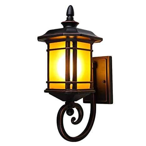Retro Wandleuchte LED Glühbirne Garten im Freien Lampenschirm Schwarze Bronze