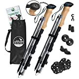 KESHES Trifold Trekking Poles Walking Sticks - 2-pc Lightweight Aluminum 7075 Collapsible & Adjustable Quick flip Lock Hiking Poles - eva Cork Grip Padded Strap - All Terrain Tips Carry Bag Included Larger Image