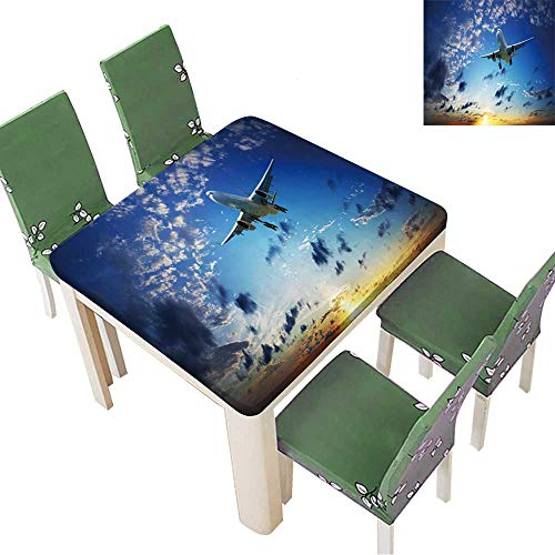 - Natural Tablecloth Jet Plane in a Sunset Sky Panoramic Composition in high Resolution for Home Use, Machine Washable 23 x 23 Inch (Elastic Edge)