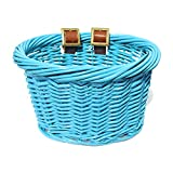 Colorbasket 01549 Kids Front Handlebar Wicker Bike Basket, Leather Straps