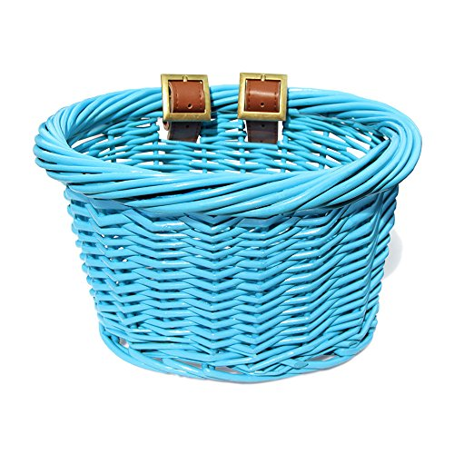 Colorbasket 01501 Kids Front Handlebar Wicker Bike Basket, Leather Straps, - Basket Bicycle Girl