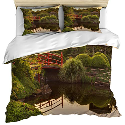 Apartment Decor 3 Piece Bedding Set Comforter Cover Twin Size, Bridge over Pond Japanese Garden Monte Carlo Monaco, Duvet Cover Set Bedspread Daybed with Zipper Closure for Childrens/Kids/Teens/Adults