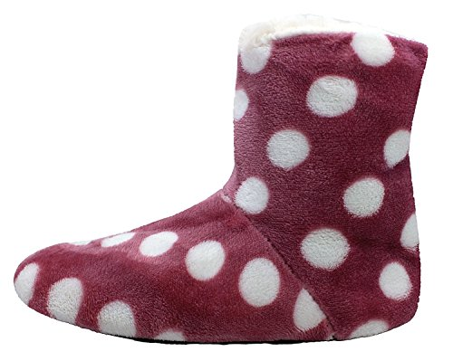 Enimay Womens Slipper Boots Lounge House Relaxed Shoes hearts Stars Polka Dots White Dot Muave - 3 1VbVZl8J