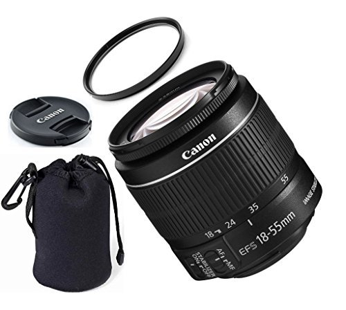 Canon EF-S 8114B002 18-55mm IS STM (Bulk White Box Packaging) ZeeTech Premium Lens Bundle + High Definition U.V. Filter + Deluxe Pouch for Canon Digital SLR Cameras by ZeeTech
