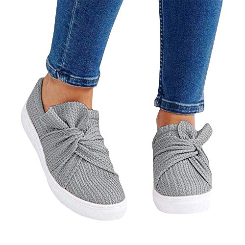 Womens Slip on Shoes Top Knot Sneakers Wide Comfortble Fashion - Denim Sneakers