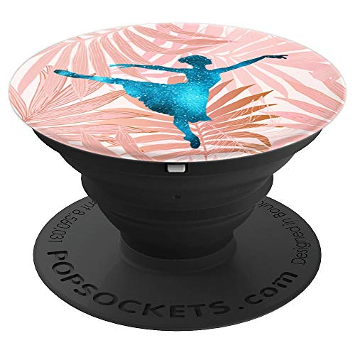Starry Turquoise Ballet Dancer Girl Pink Palm Tree Pattern - PopSockets Grip and Stand for Phones and Tablets -
