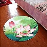 Rug WAN SAN QIAN- 3D Round Carpet Chinese Office Carpet Basket Swivel Chair Carpet Mats Children Bedroom Lotus Carpet (Color : A, Size : 80x80cm)