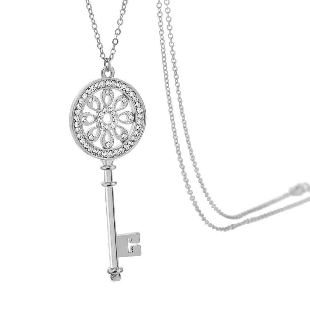 Long Necklace White Key Pendant Quote on Greeting Card Envelope,Every Morning We are Born Again