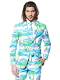 Opposuits Men's Flaminguy-Party Costume Suit, Turquoise/Mixed, 40