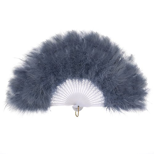 Water Themed Costume Party (BABEYOND Roaring 20s Vintage Style Folding Handheld Flapper Marabou Feather Hand Fan for Costume Halloween Dancing Party Tea Party 11
