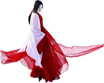 Women's Ancient Traditional Chinese Costume Half Sleeve Embroidery Hanfu Top High Waist Swing Skirt Outfit