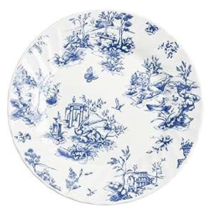 Churchill Toile Blue - Vajilla de loza inglesa, tamaño 18 piezas, color blanco y azul