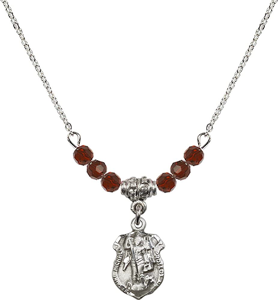 18-Inch Rhodium Plated Necklace with 4mm Garnet Birthstone Beads and Sterling Silver Saint Michael the Archangel Charm.