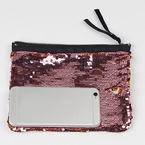 Women Fashion Party Zipper Storage Pu Black Handbag Ran Pink White Makeup Evening Sequins Golden Bag Glitter RA5Cqxw