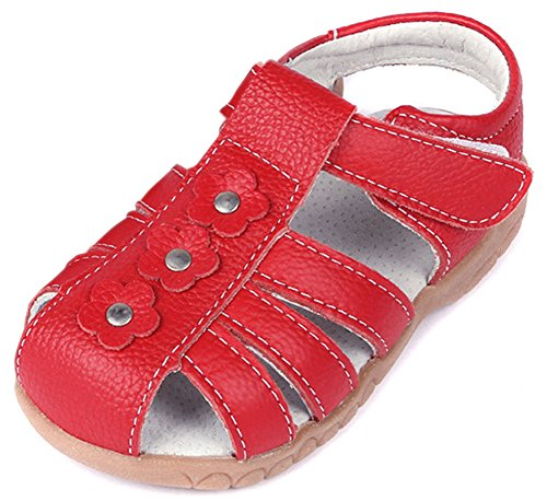 Femizee Girls Casual Leather Closed Toe Flower Princess Dress Sandal(Toddler/Little Kid),Red,1508 ()