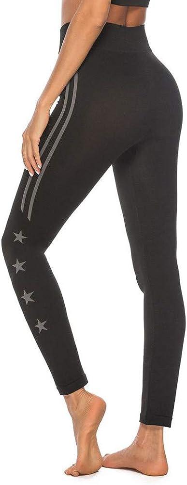 Star/_wuvi High Waist Yoga Pants,Womens Striped Star Print Workout Leggings Stretch Athletic Pants Yoga Tights
