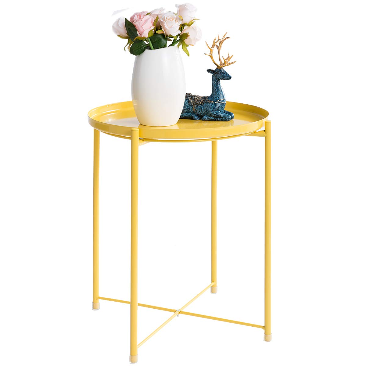 Hollyhome Tray Metal End Table Sofa Table Small Round Side Tables Anti Rust And Waterproof Outdoor Indoor Snack Table Accent Coffee Table H 20 28 X D 16 38 Yellow Cream Buy Online In Faroe Islands