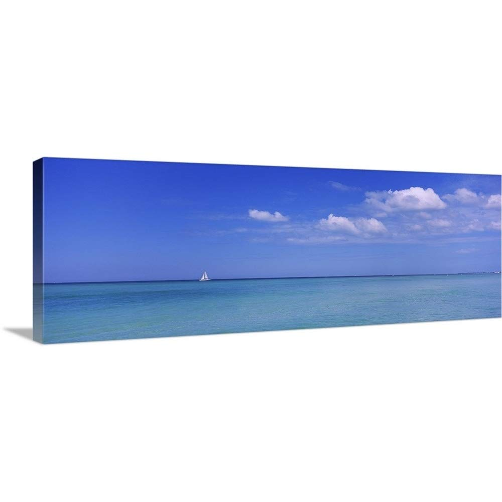 GREATBIGCANVAS Gallery-Wrapped Canvas Entitled Sailboat in The sea, Coquina Beach, Anna Maria Island, Manatee, Florida by 60''x22''