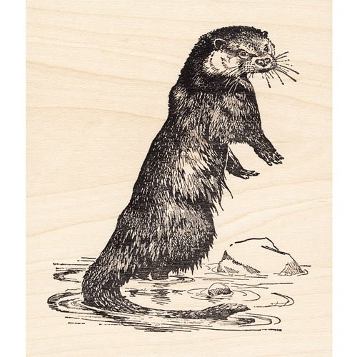 Otter Large Rubber Stamp Animals
