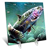 3dRose LLC Rainbow Trout Desk Clock, 6 by 6-Inch