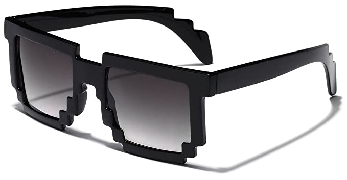 bfdfd0982ada Image Unavailable. Image not available for. Color  8 Bit Square Pixel Nerd  Gamer Glasses ...