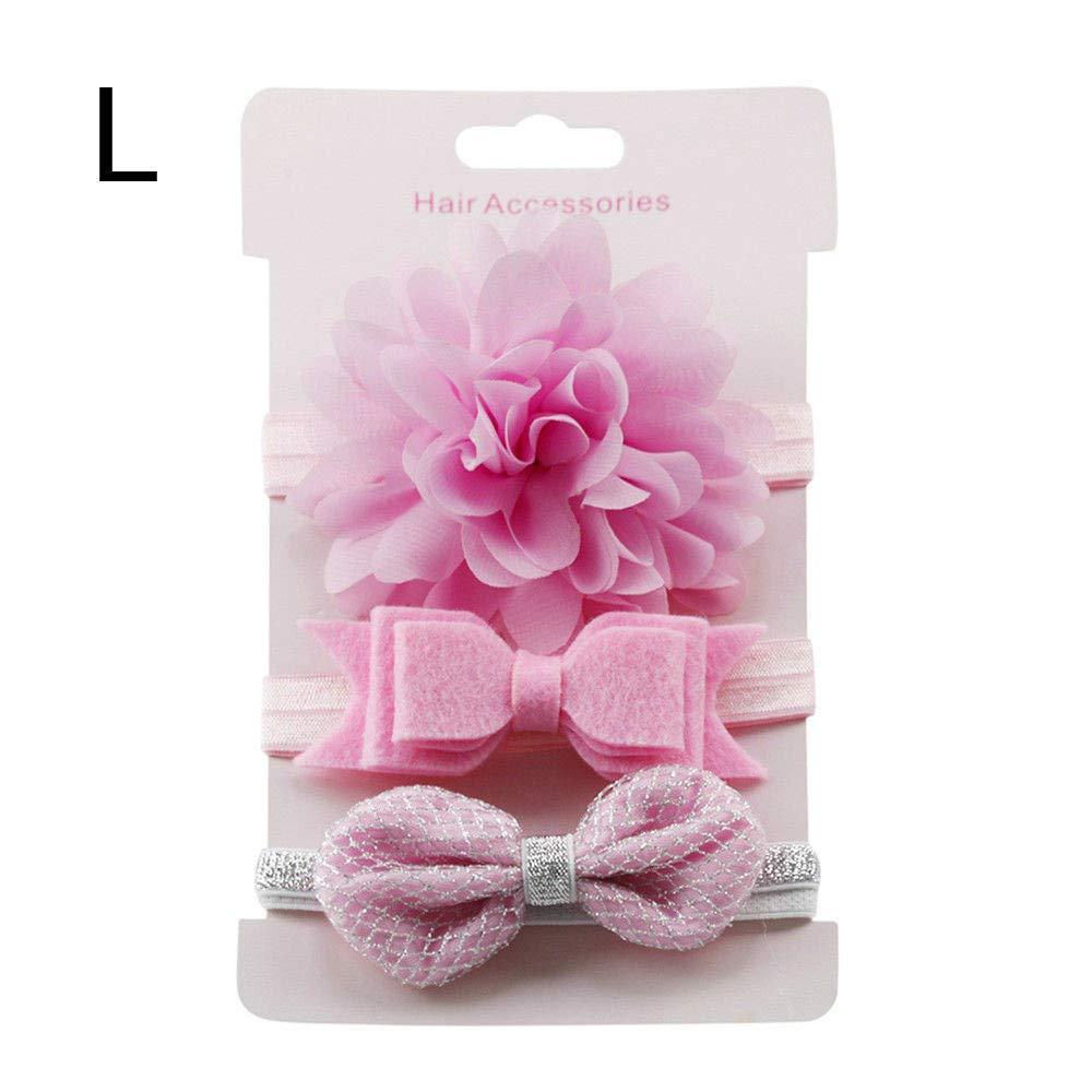 Baby Elastic Nylon Solid Headband 3pcs Headdress Hairbands Dot Flower Printed
