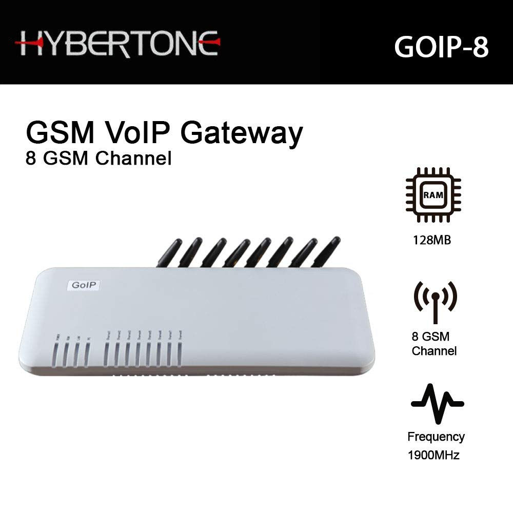 Hybertone GSM VoIP Gateway GOIP-8 with 8 GSM Channel and 128MB RAM by Hybertone